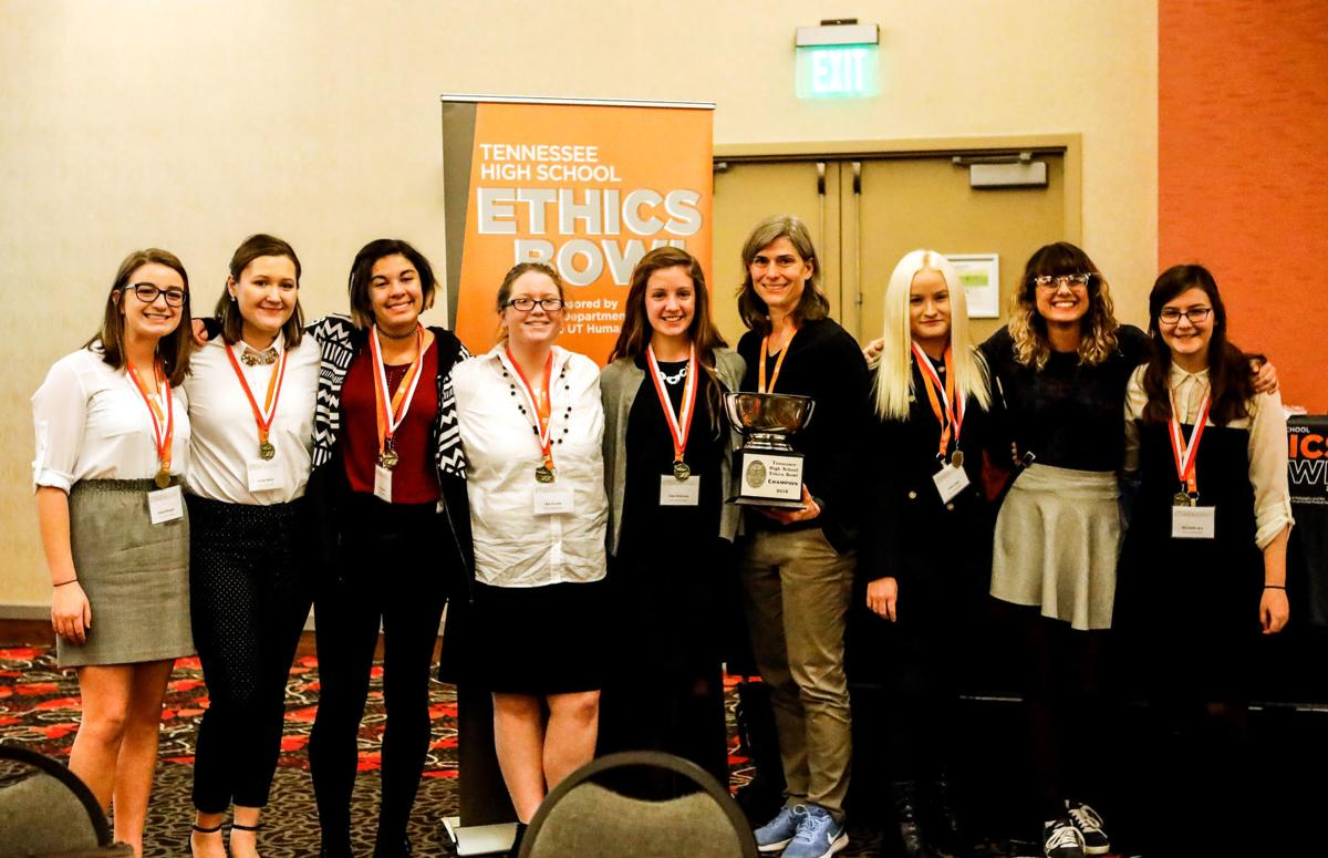 Maryville High School Ethics Team with 2018 Tennessee High School Ethics Bowl trophy