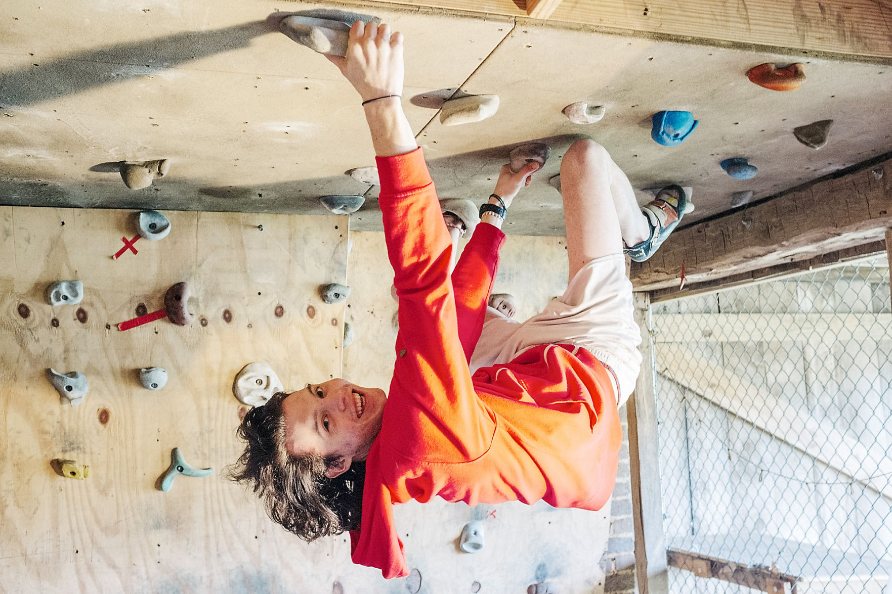 Maryville College student Ryan Indelicato practices bouldering