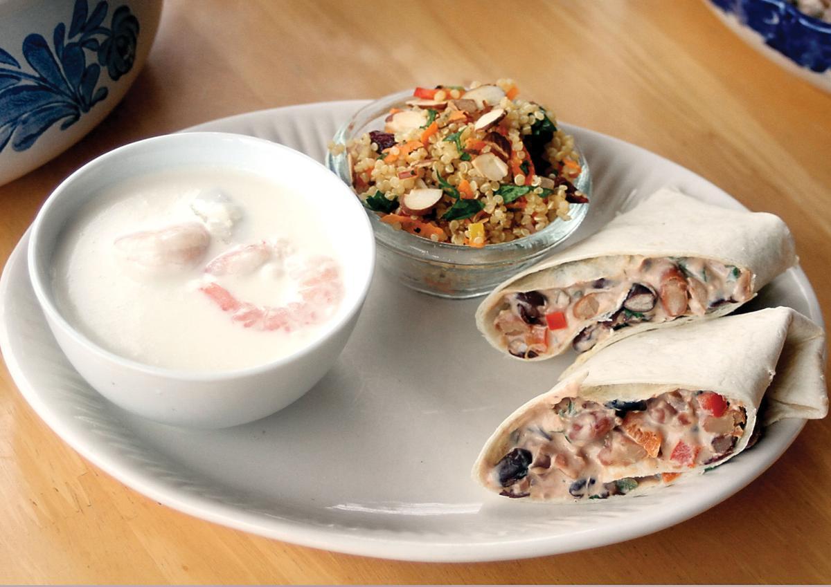 Burritos with shrimp chowder and quinoa salad