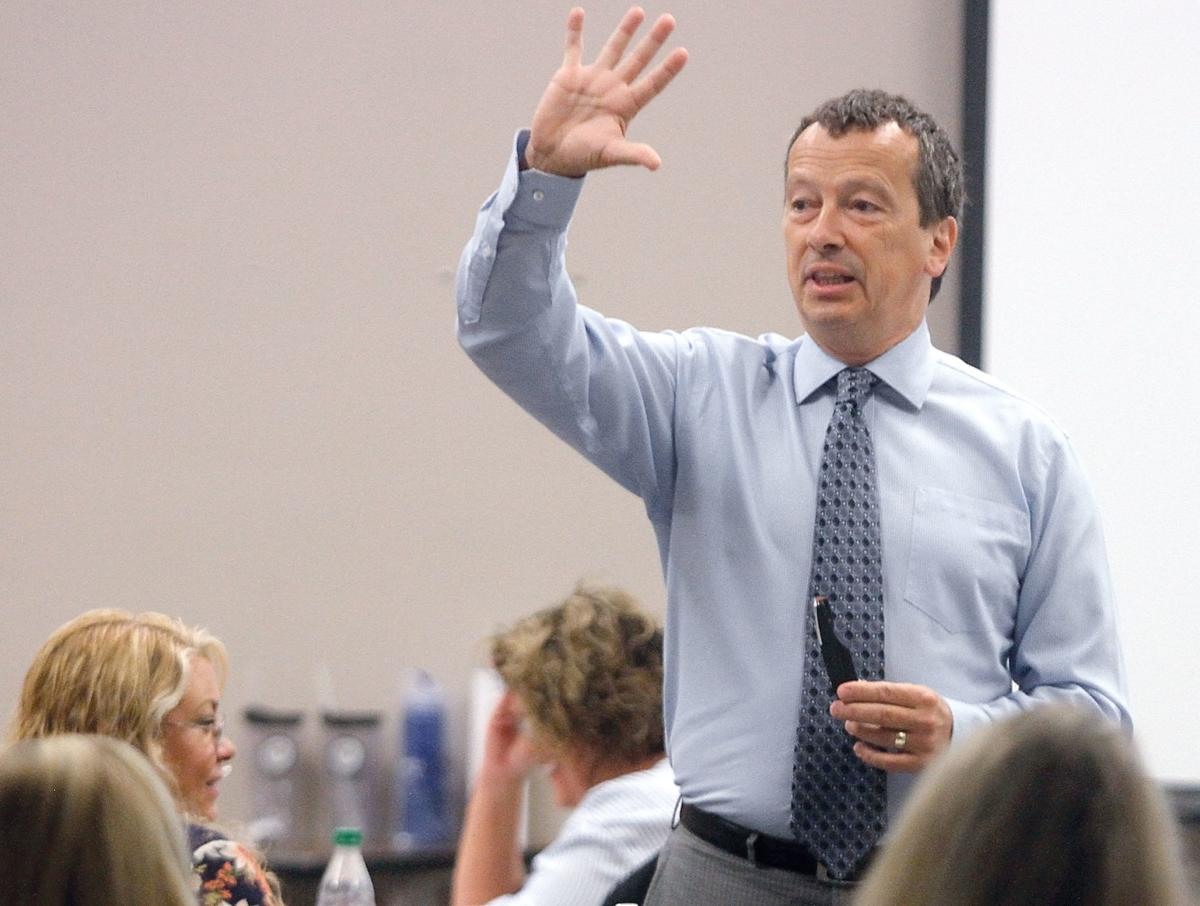 Author Tom Hierck speaks at Blount County Schools Central Office