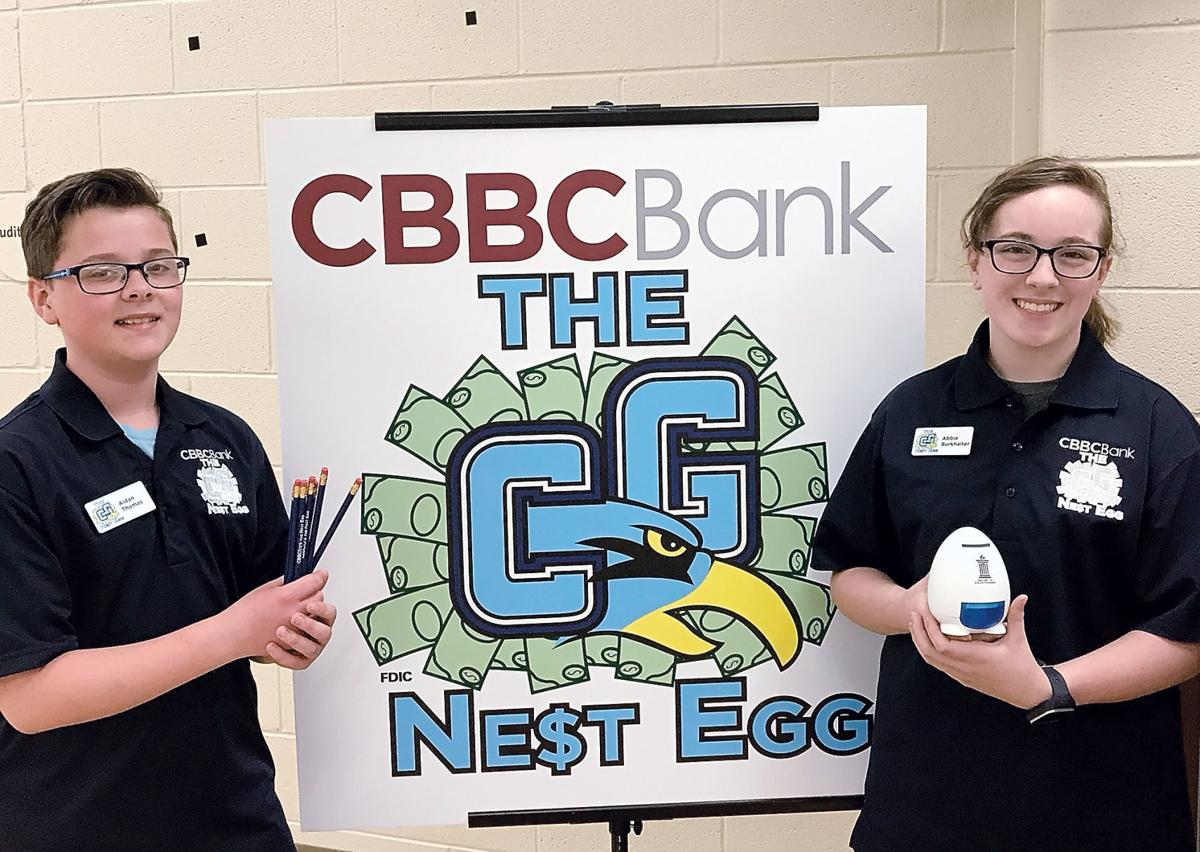 The Nest Egg student bankers Aiden Thomas and Abbie Burkhalter