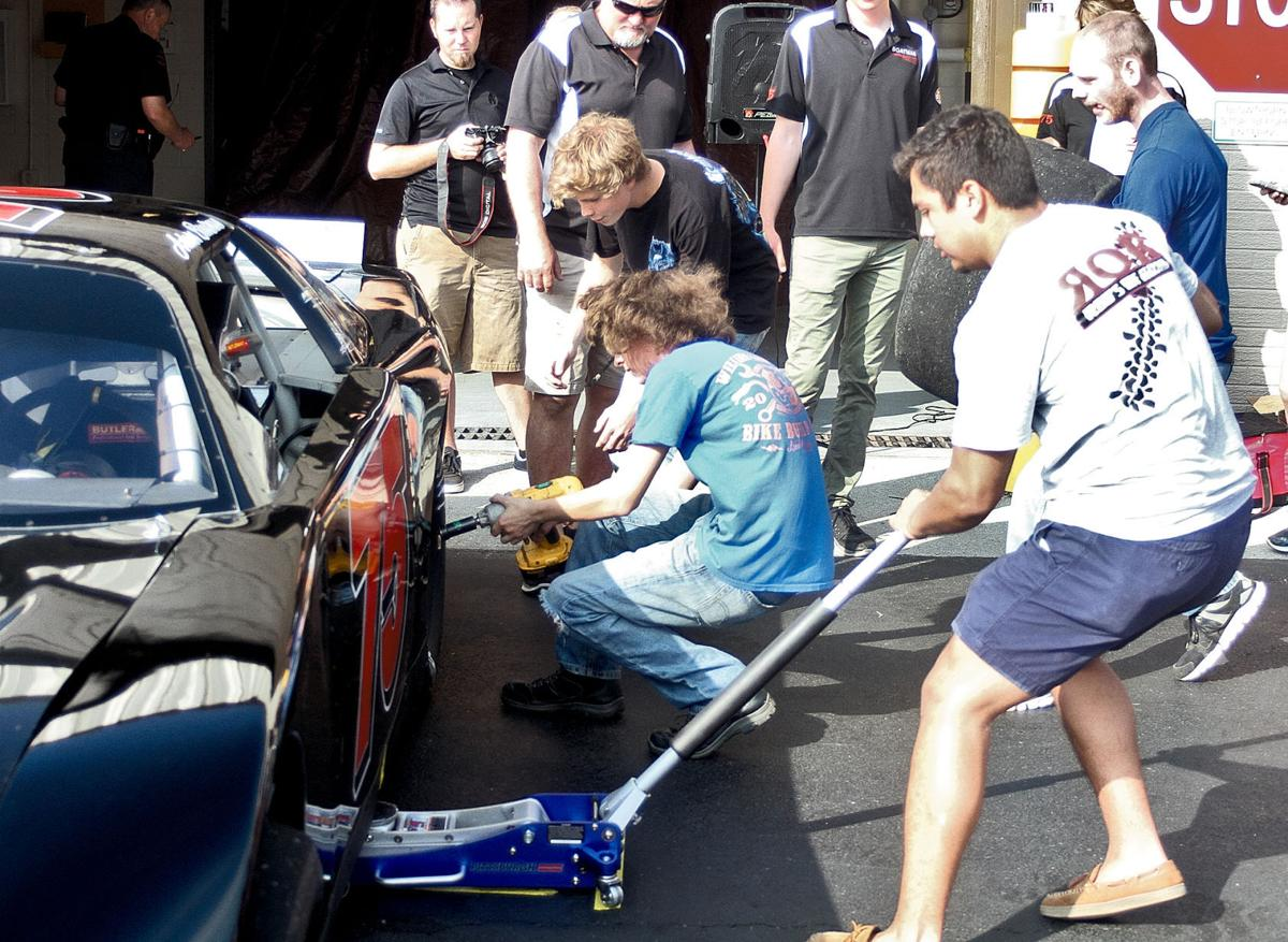 Heritage High School competes in the pit stop challenge