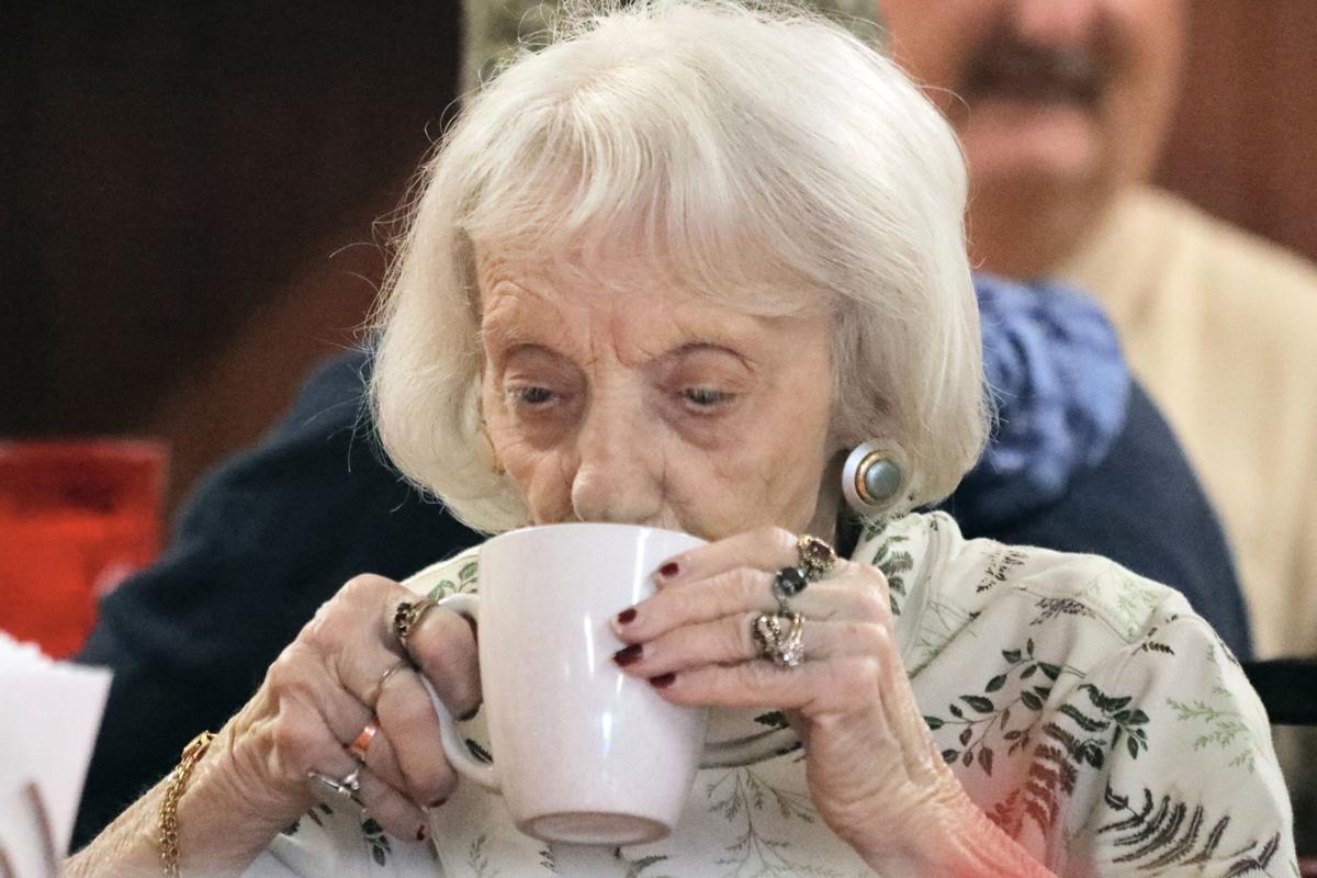Jean Burnett with coffee
