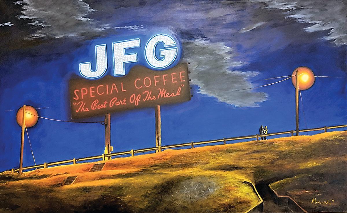Allen Monsarrat oil painting of JFG sign