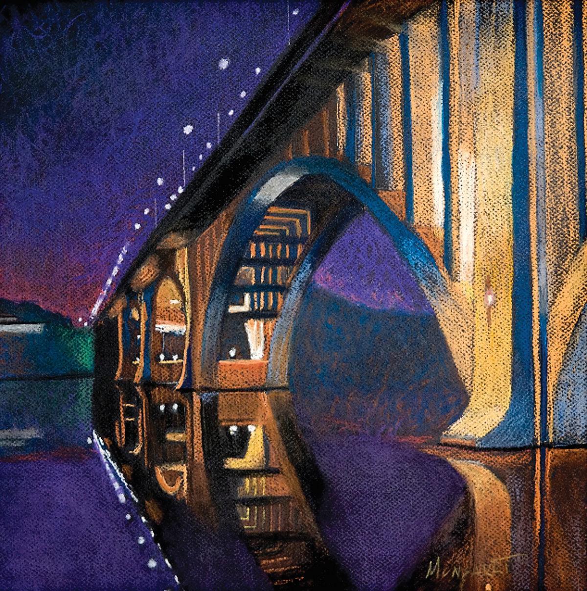 Allen Monsarrat pastel painting of Gay Street Bridge