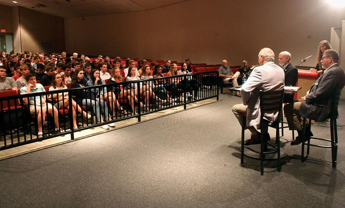 Tennessee Rep. Bob Ramsey, Sen. Art Swann and Rep. Jerome Moon talk to Maryville High School students