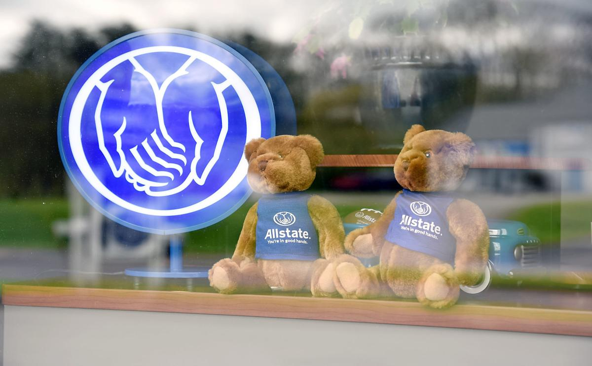 """Stuffed animals at Laforce Insurance for virtual """"bear hunt"""" during COVID-19"""
