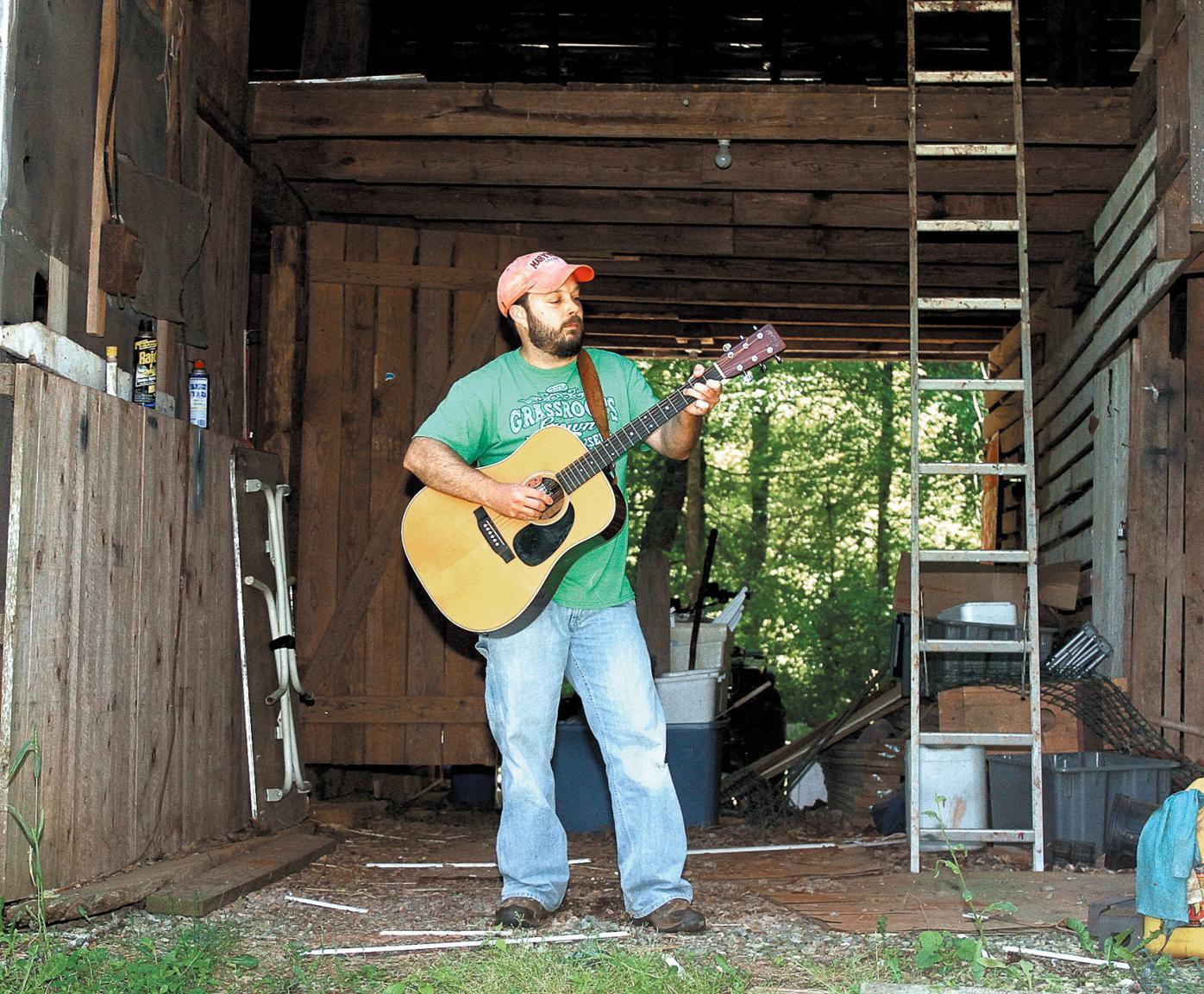 Jay Clark in barn