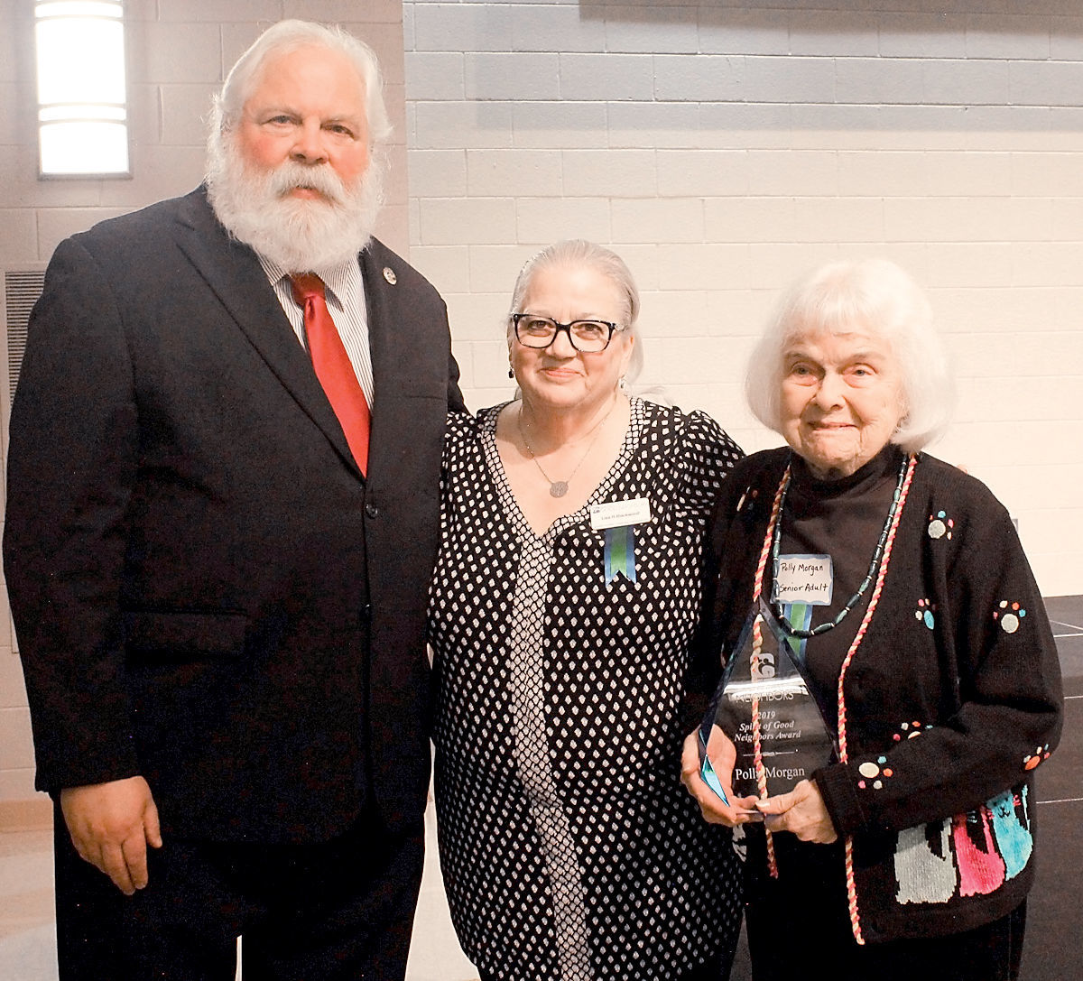 Mayor Ed Mitchell, Lisa Blackwood and Polly Morgan