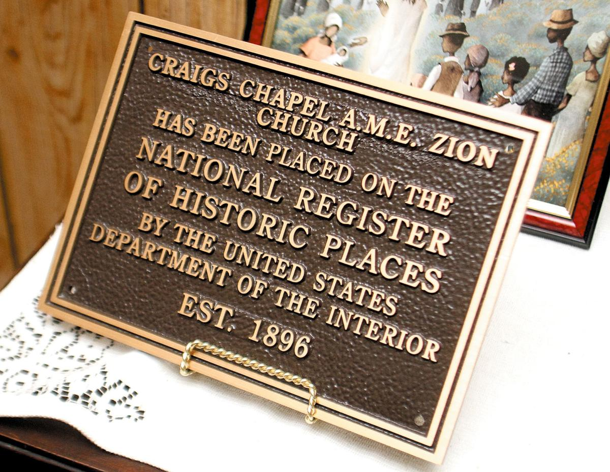 Craig's Chapel AME Zion Church is on the National Register of Historic Places