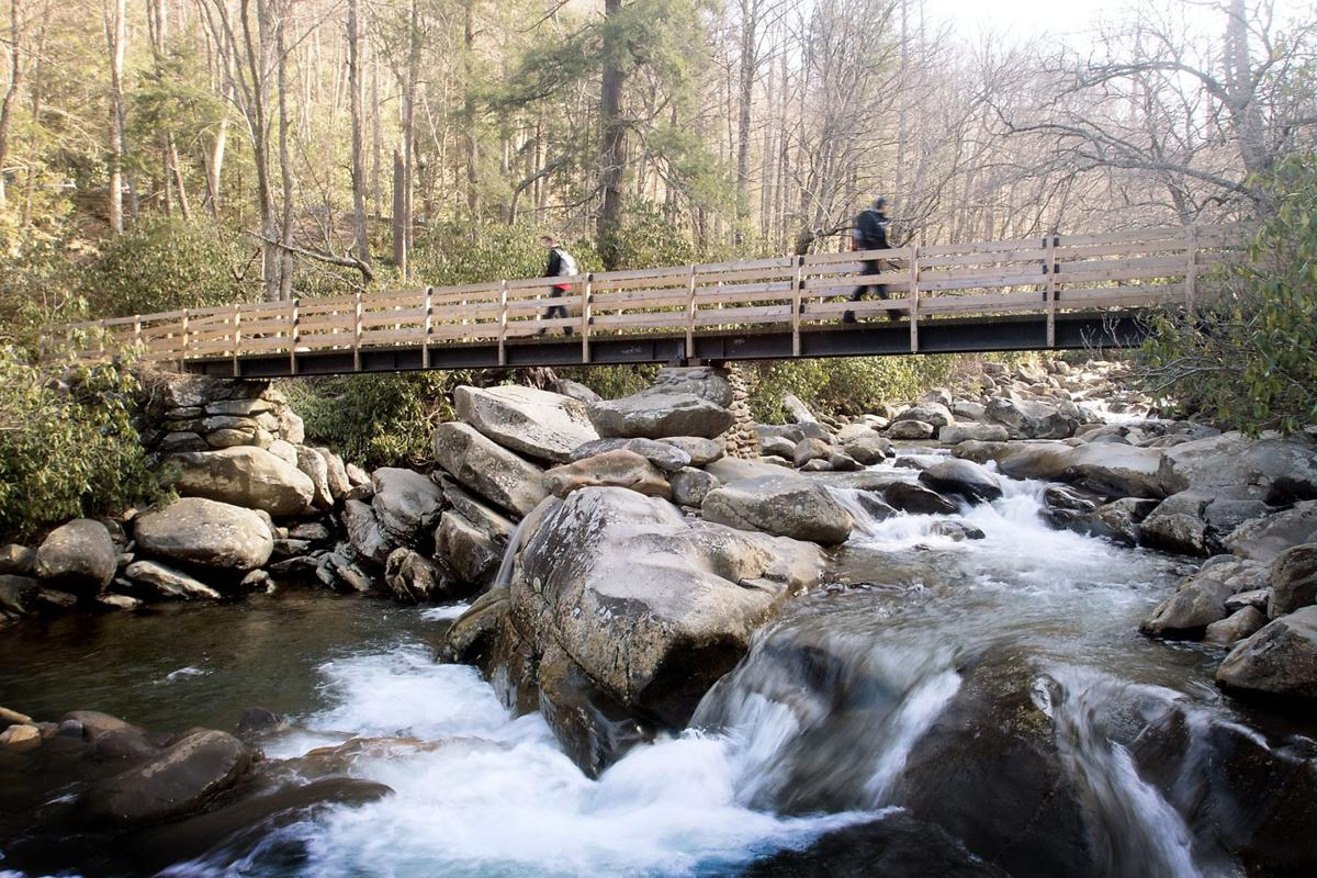 Crossing a Bridge on the Chimney Tops Trail
