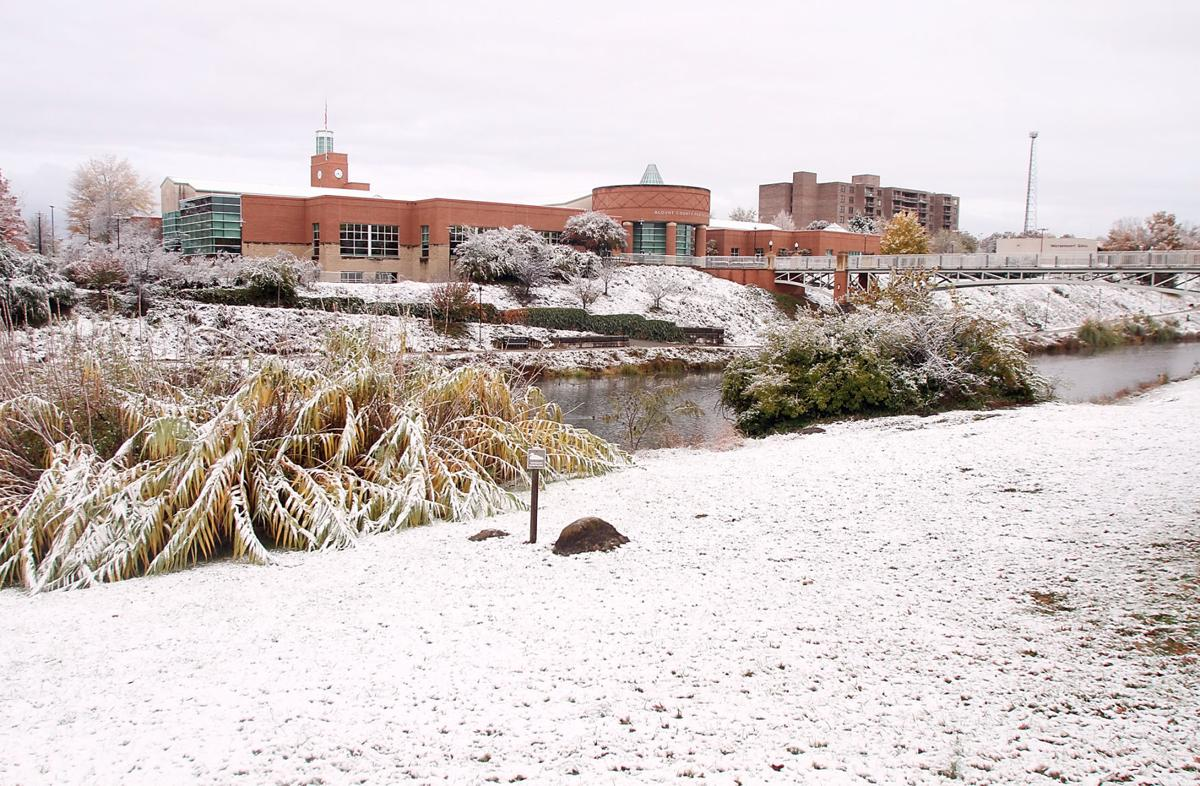 Snow covers the ground on the greenbelt near the Blount County Library