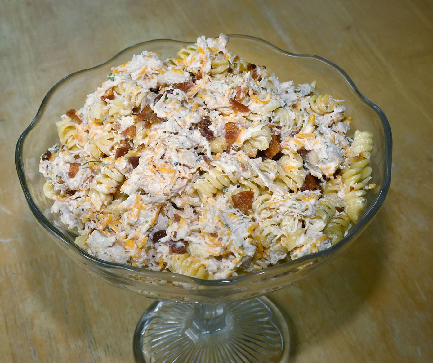 Chicken, pasta, bacon salad