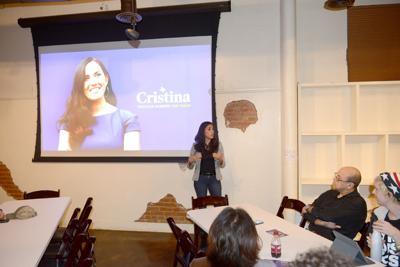 Senate candidate Cristina Tzintzún Ramirez speaks in Bryan