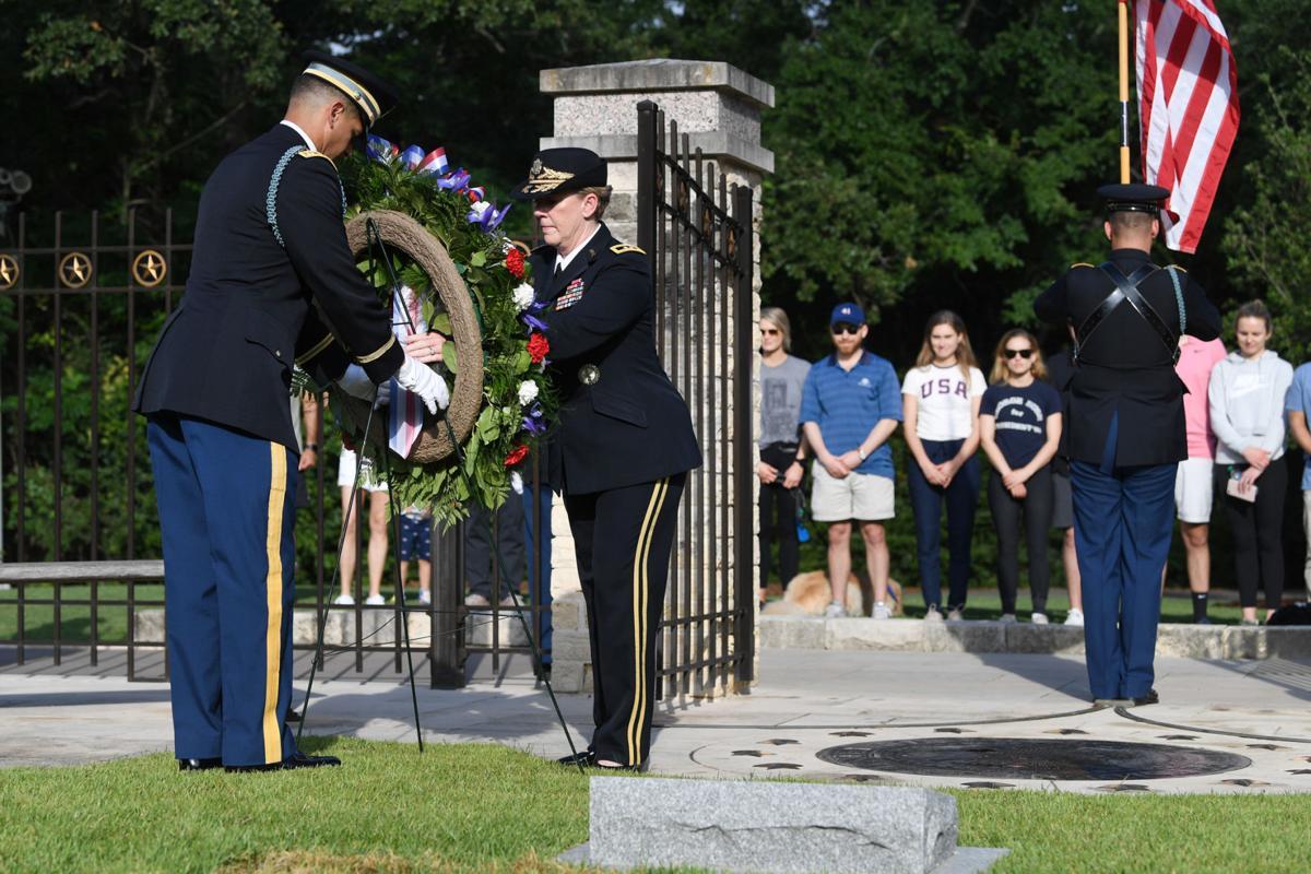 Wreath laying at Bush gravesite