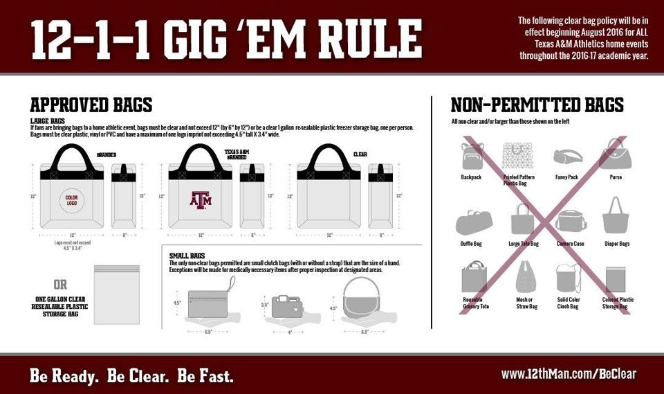 Clear Bags New Standard For Attending Texas A Amp M Sporting