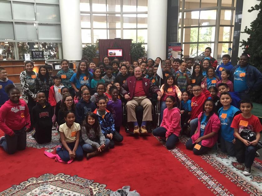 George H W Bush Treats Elementary School Students To