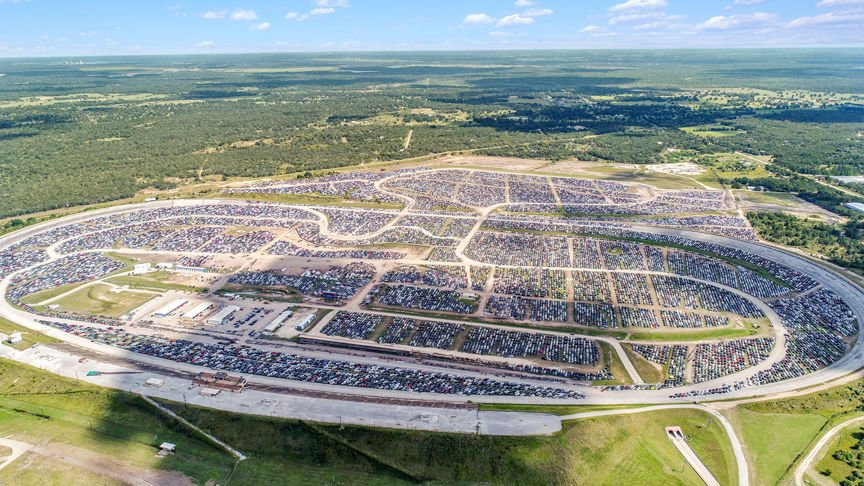 Flooded cars parked at Texas World Speedway