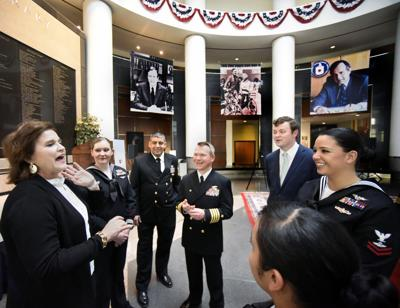 Navy Visits Bush Library
