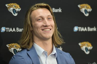 Jacksonville Jaguars No. 1 draft pick Trevor Lawrence appears at Friday afternoon's press conference at TIAA Bank Field.