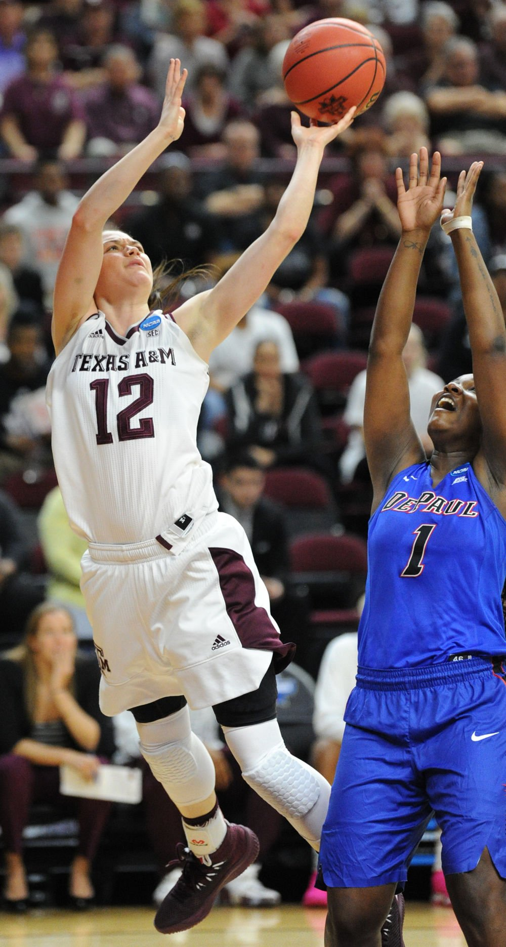 0f7c178c159 Carter's 3-pointer caps comeback win over DePaul, lifts Aggie women to  Sweet 16 | Aggie Sports | theeagle.com