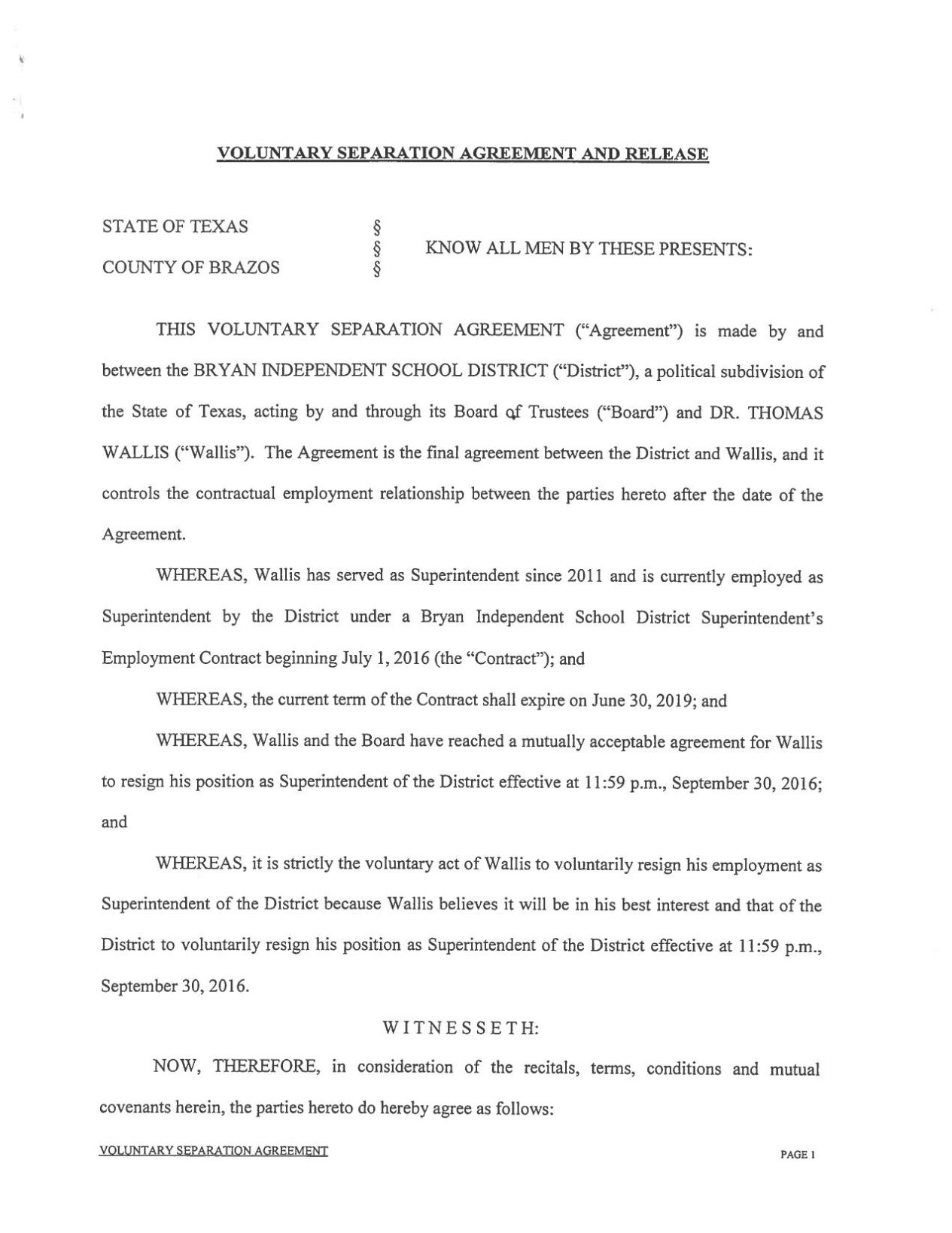 Download PDF Bryan ISD Voluntary Separation Agreement With Tommy Wallis