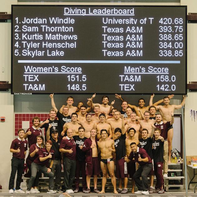 Texas A Amp M Men S Swimming And Diving Team Beats Texas For