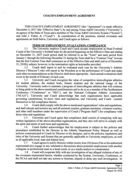 Jimbo Fisher Contract Theeagle
