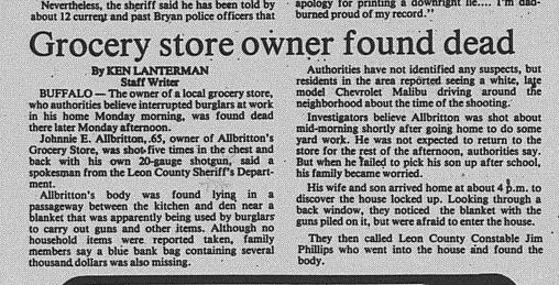 May 16, 1984 article on Johnnie Allbritton murder