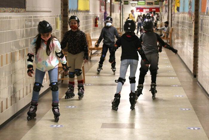 Henderson Elementary School students skating