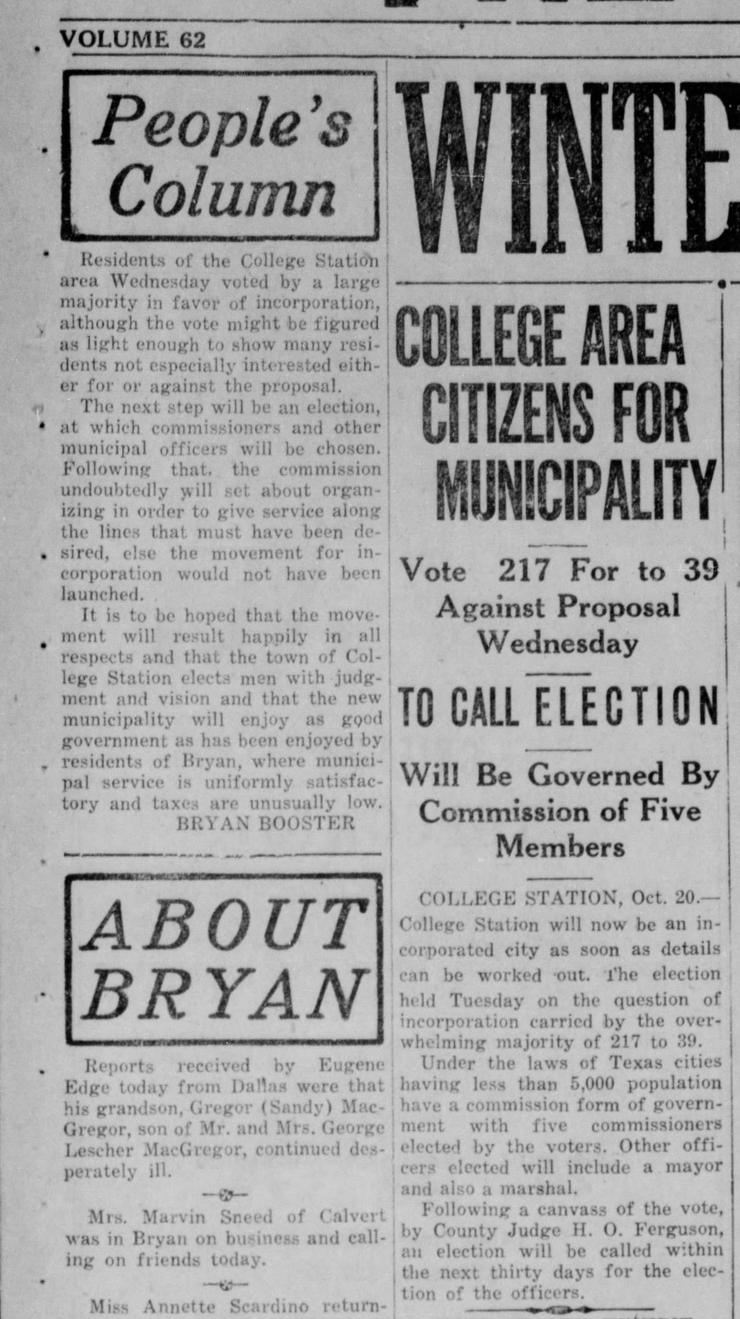 The Eagle Archives, Oct. 20, 1938