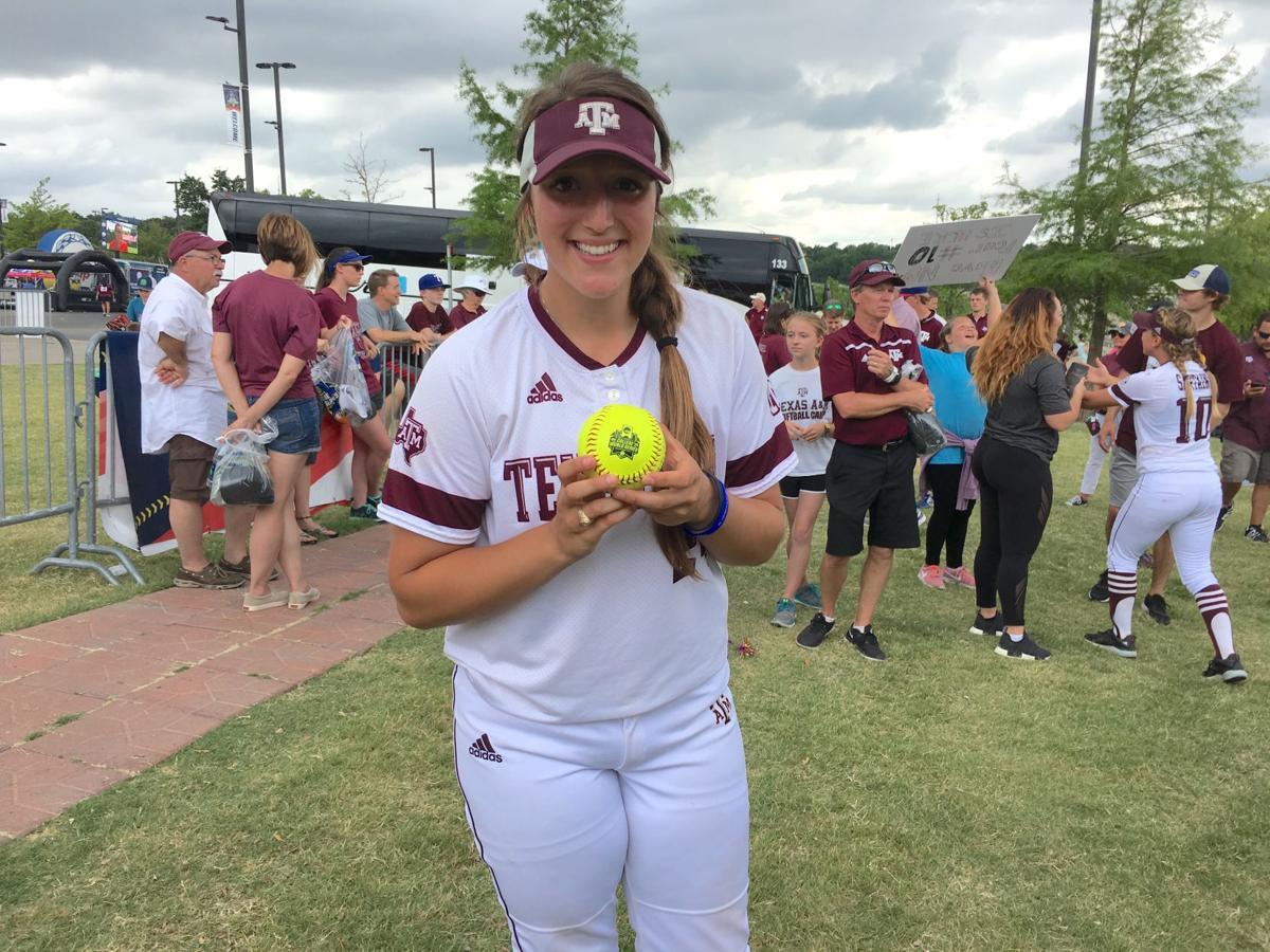 Celena Massey with home run ball