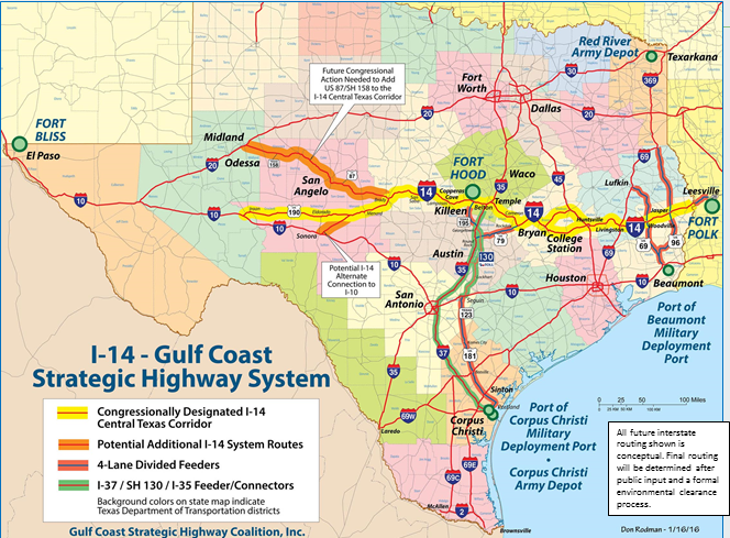 Map of proposed Interstate 14 route theeaglecom