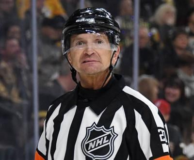 Referee Tim Peel skates during a break in the second period of a game between the Nashville Predators and the Vegas Golden Knights at T-Mobile Arena on February 16, 2019 in Las Vegas, Nevada.
