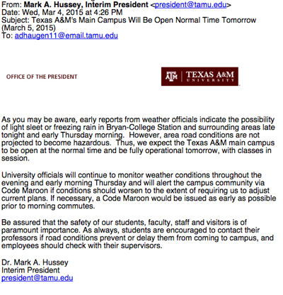 Hussey sparks Twitter uproar with email that school is open | Coffee