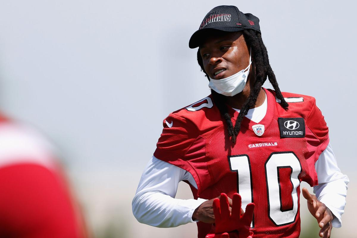 Wide receiver DeAndre Hopkins of the Arizona Cardinals participates in an off-season workout at Dignity Health Arizona Cardinals Training Center on June 2, 2021 in Tempe, Arizona.