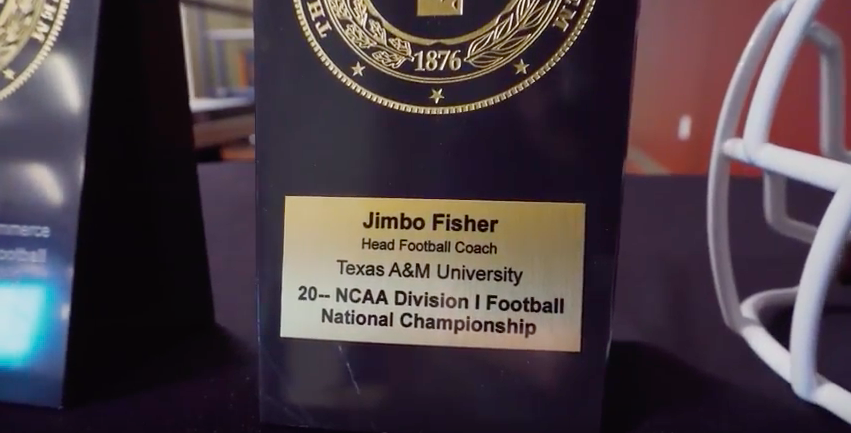 Jimbo Fisher National Championship plaque