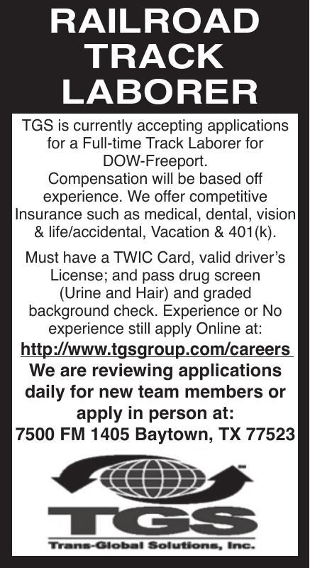 Railroad Track Laborer Needed