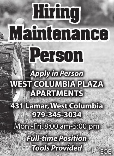 WC Plaza Hiring Maintenance Person