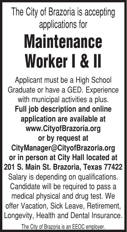 City of Brazoria Hiring Maintenance Worker