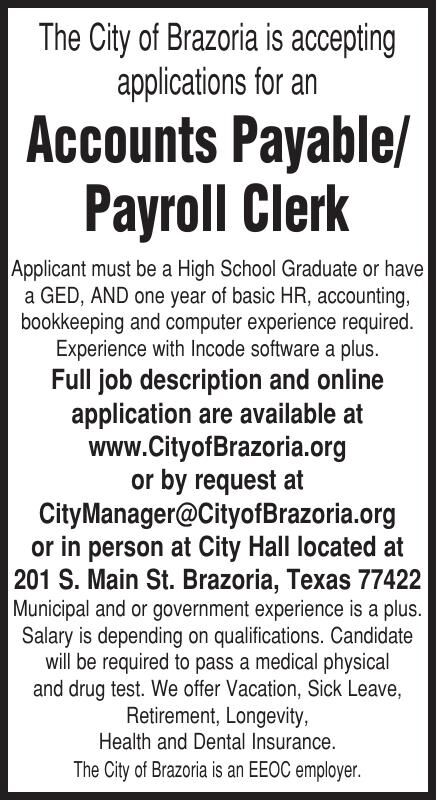 City of Brazoria Hiring Payroll Clerk