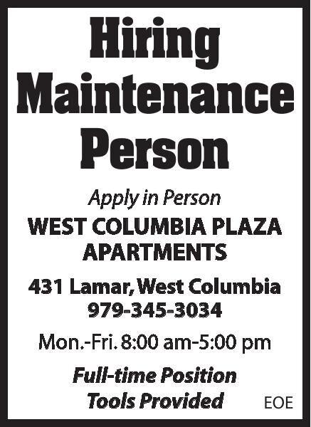 West Columbia Plaza Hiring Maintenance Person