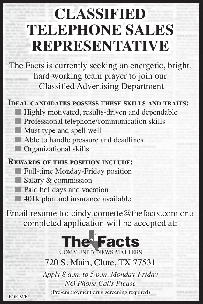 Now Hiring Classified Telephone Sales Rep