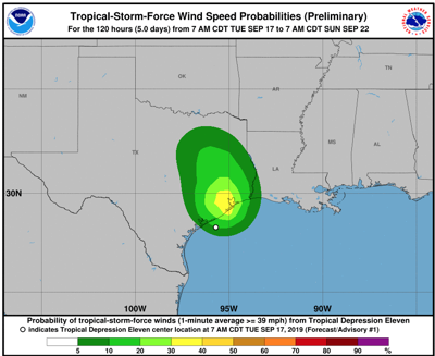 Wind probability graphic