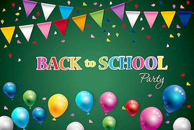Back to school of poster and banner and green background for education party. Vector illustration.