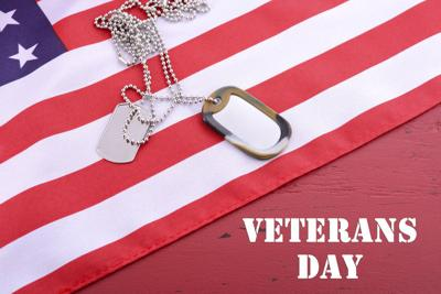 Veterans Day USA Flag with dog tags