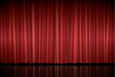 Theater stage with red curtain vector illustration