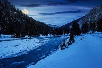 mountain river in winter at night