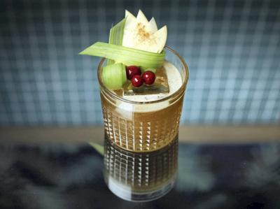 Butter fat-wash bourbon for a boozy apple cocktail tastes like Christmas
