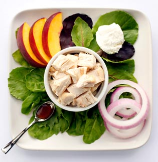 Chicken Salad with Peaches and Goat Cheese